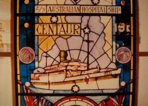 Centaur stain glass window middle