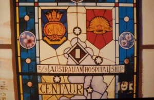 Centaur stain glass window top